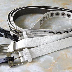 DKNY Pebbled Faux Leather Grommet Belt White